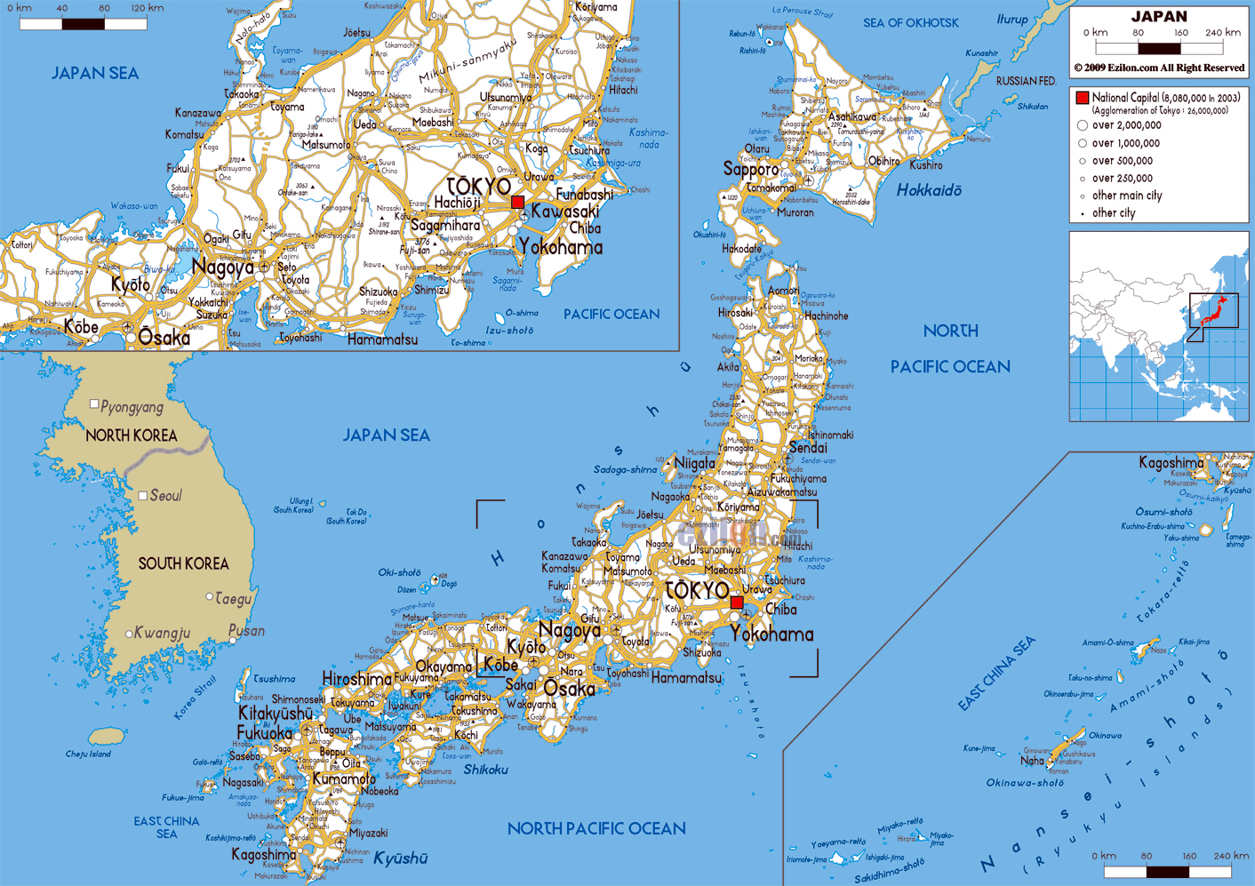 Map Of Asia And Japan.Large Road Map Of Japan With Cities And Airports Japan Asia