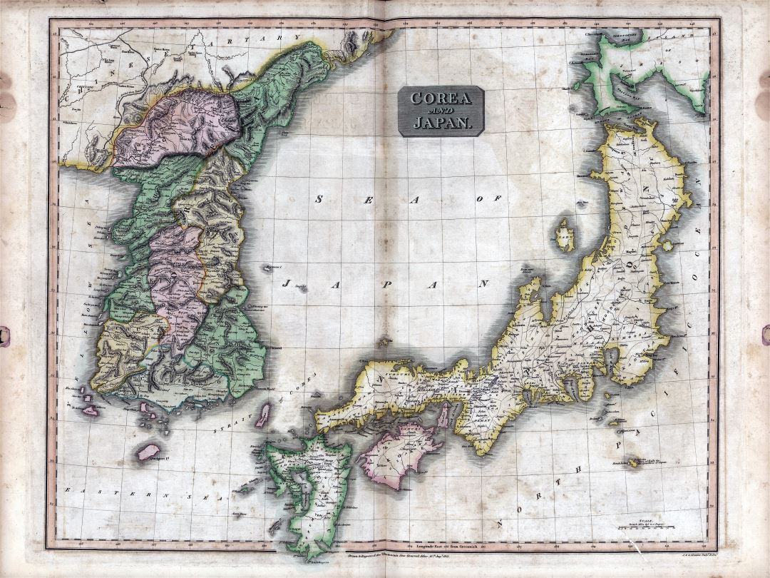 Large scale detailed old political map of Japan and Korea - 1815
