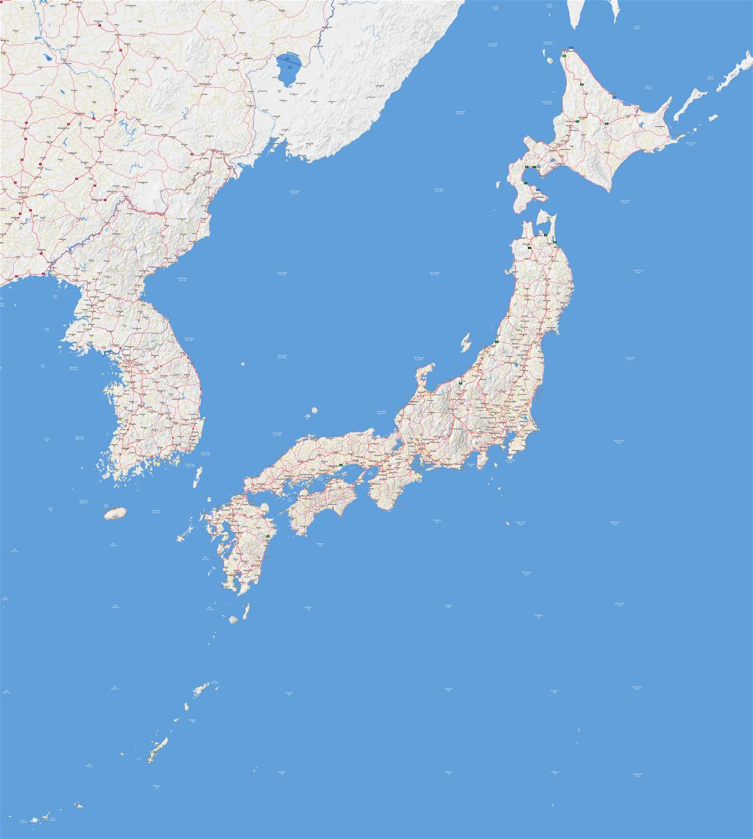 Large scale road map of Japan with relief and all cities