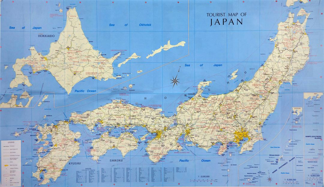 Large scale tourist map of Japan