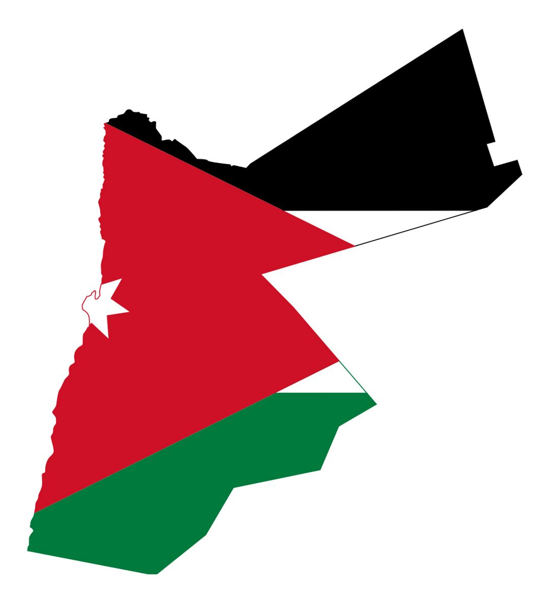 Detailed flag map of Jordan