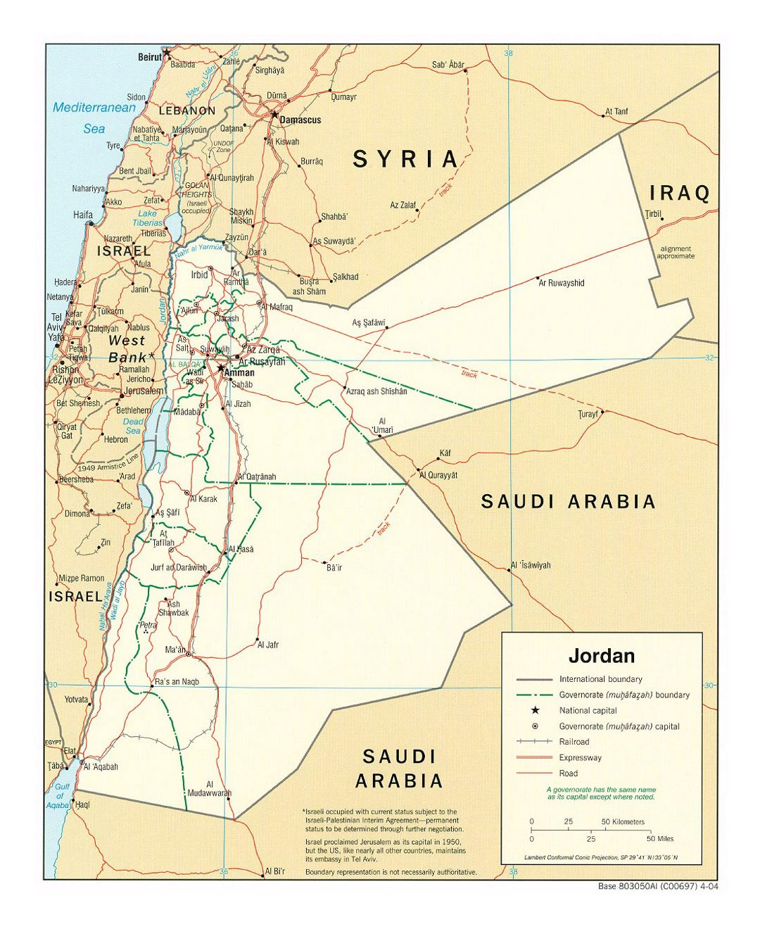 Detailed political and administrative map of Jordan with roads, railroads and major cities - 2004