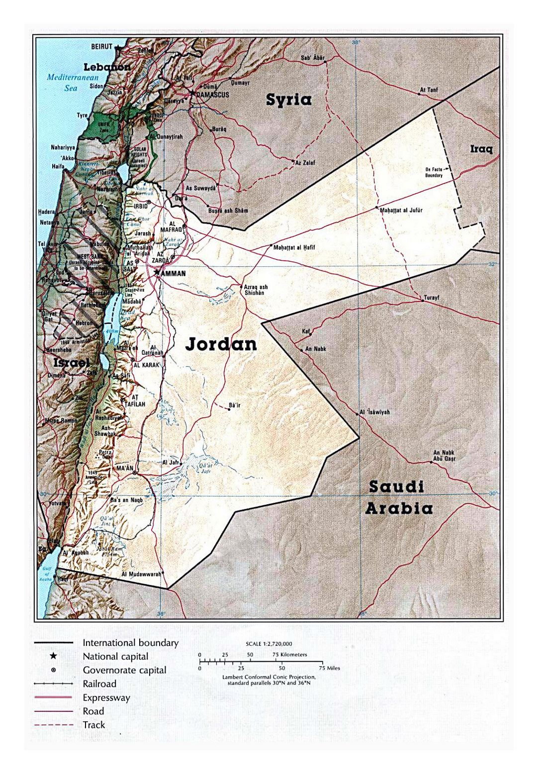 Detailed political map of Jordan with relief, roads, railroads and major cities