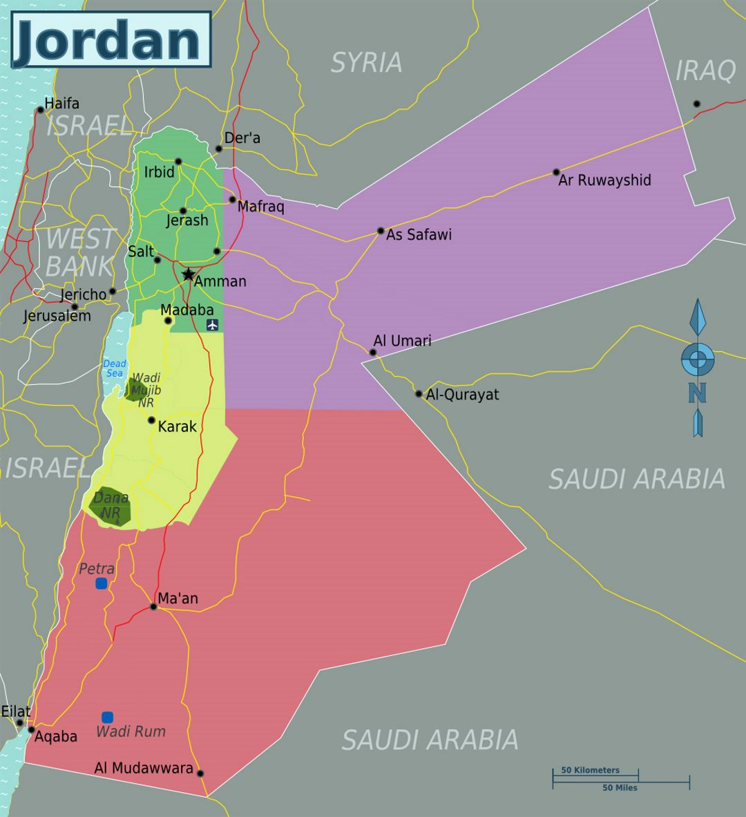 Detailed regions map of Jordan