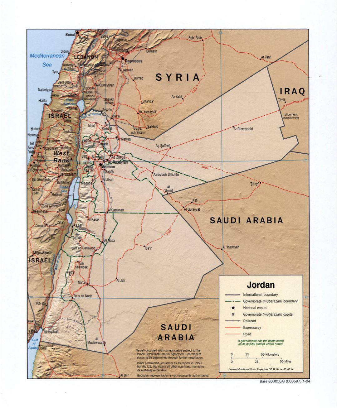 Large detailed political and administrative map of Jordan with relief, roads, railroads and major cities - 2004
