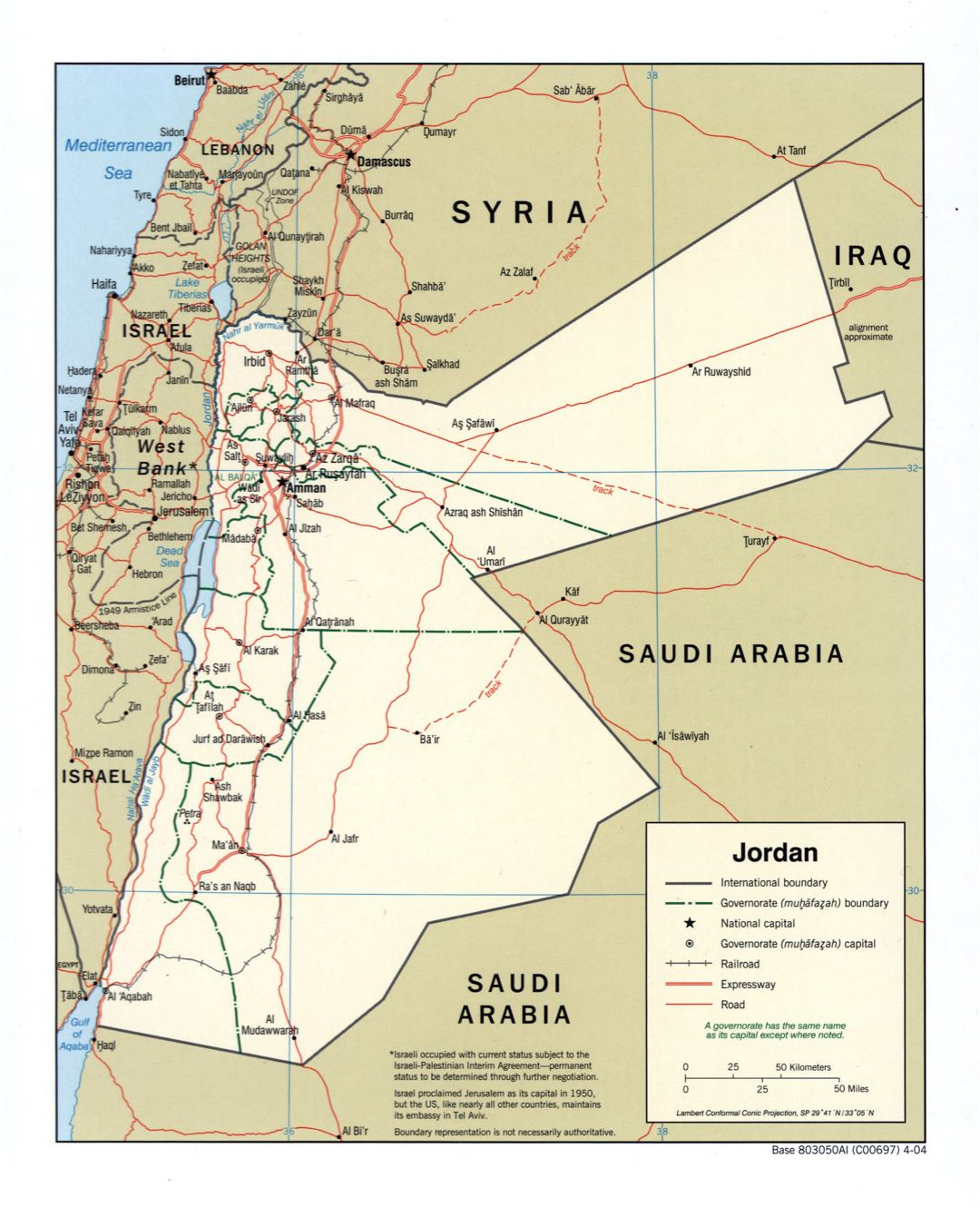 Large detailed political and administrative map of Jordan with roads, railroads and major cities - 2004