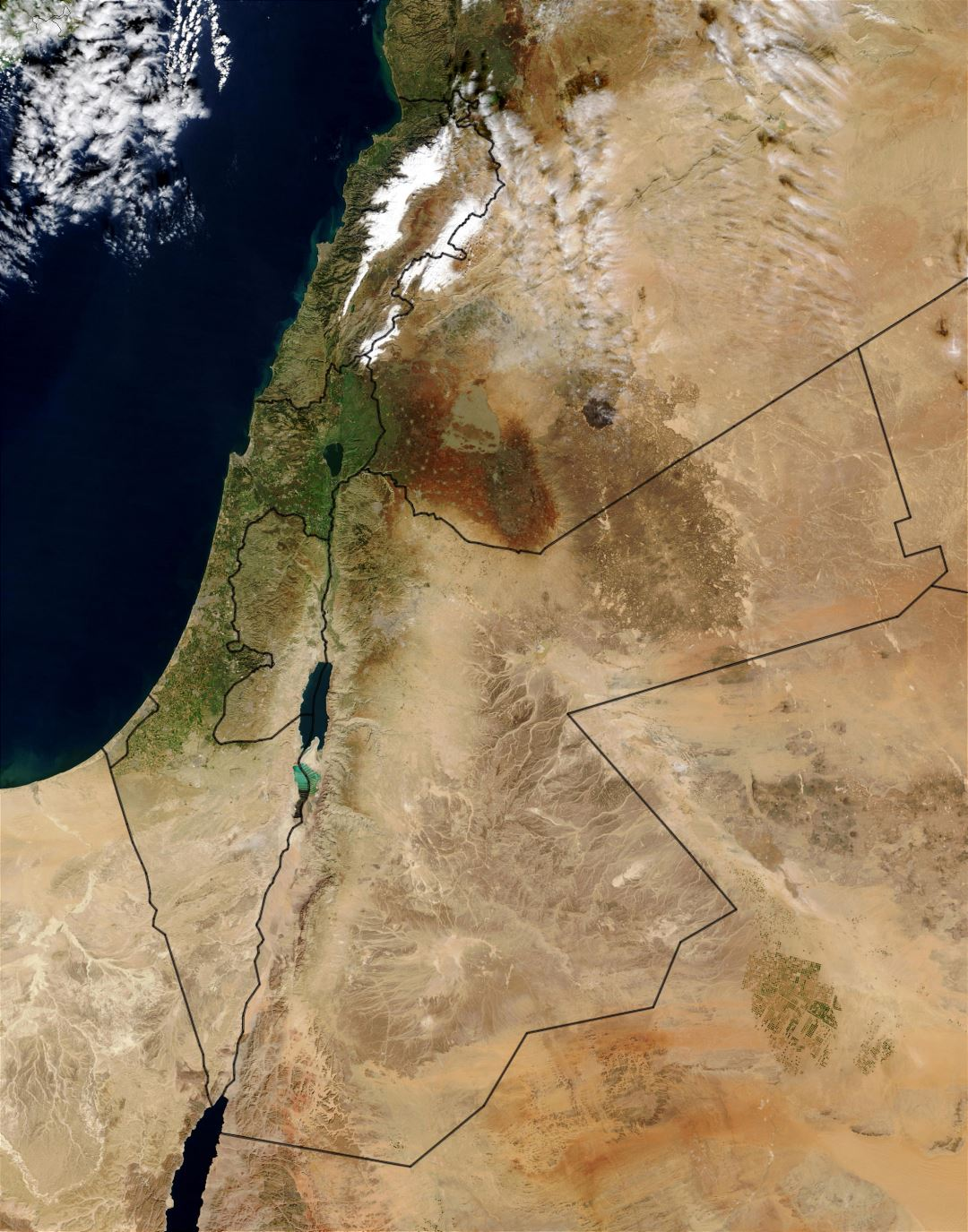 Large detailed satellite map of Jordan