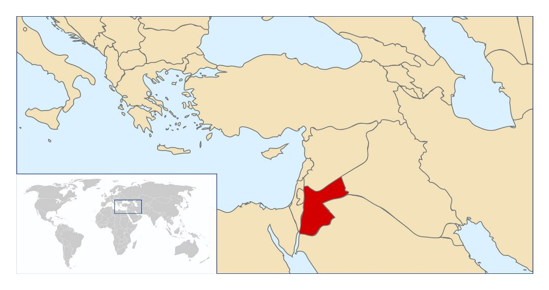 Large location map of Jordan