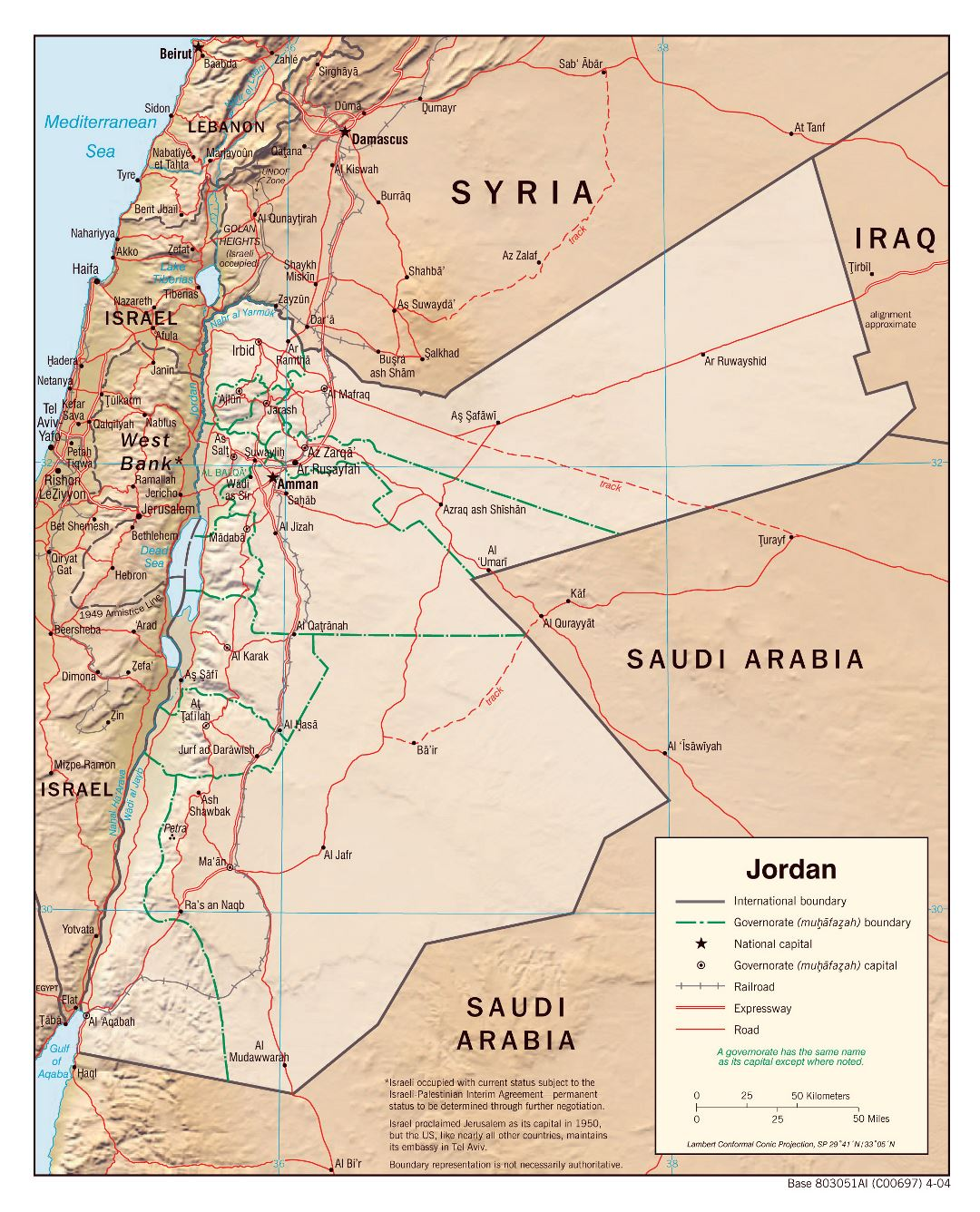 Large political and administrative map of Jordan with relief, roads, railroads and major cities - 2004