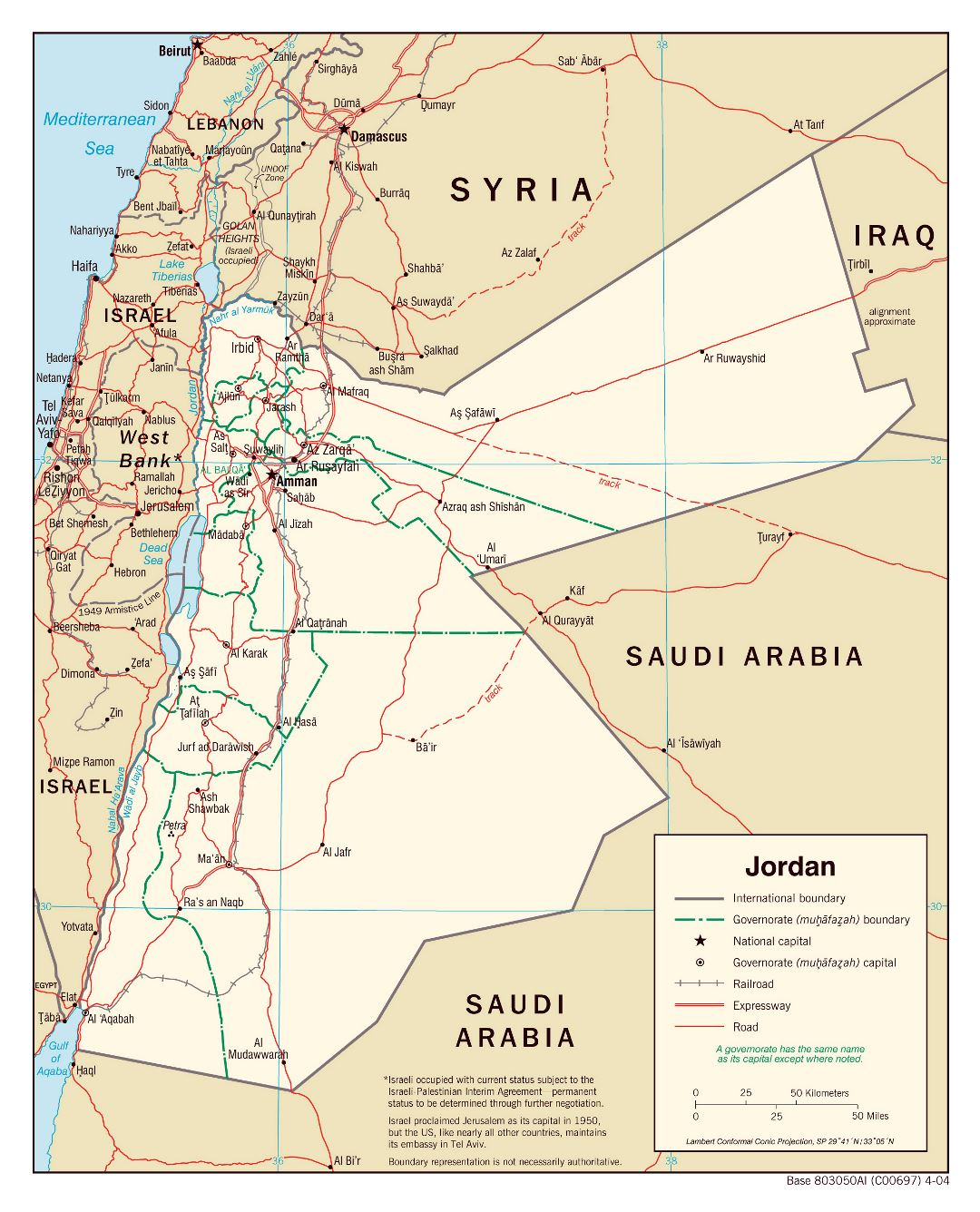 Large political and administrative map of Jordan with roads, railroads and major cities - 2004