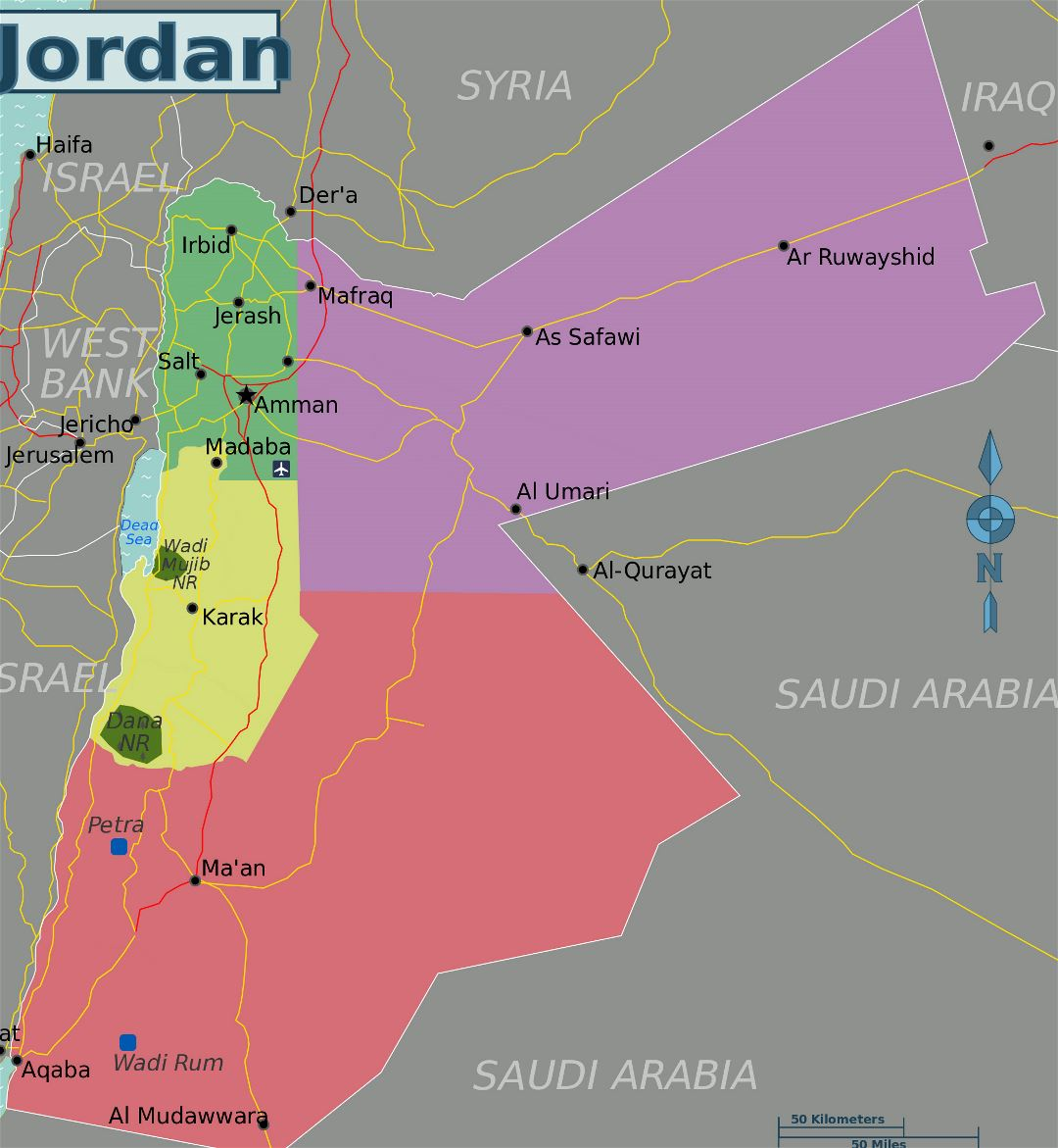 Large regions map of Jordan
