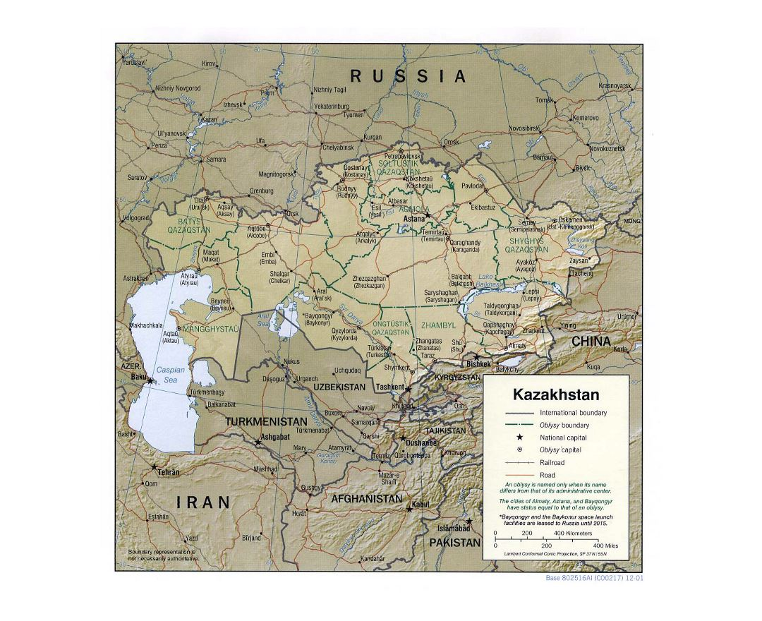 Detailed political and administrative map of Kazakhstan with relief, roads, railroads and major cities - 2001
