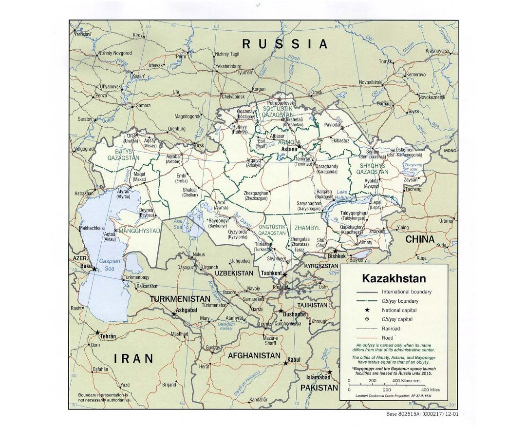 Detailed political and administrative map of Kazakhstan with roads, railroads and major cities - 2001