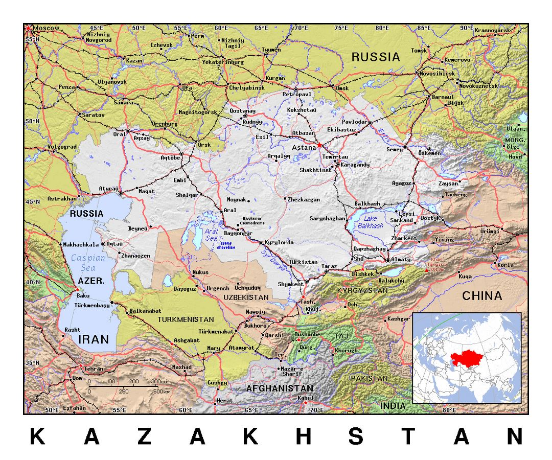 Kazakhstan Political Map.Detailed Political Map Of Kazakhstan With Relief Kazakhstan Asia