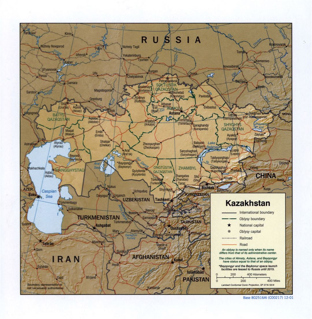 Large detailed political and administrative map of Kazakhstan with relief, roads, railroads and major cities - 2001