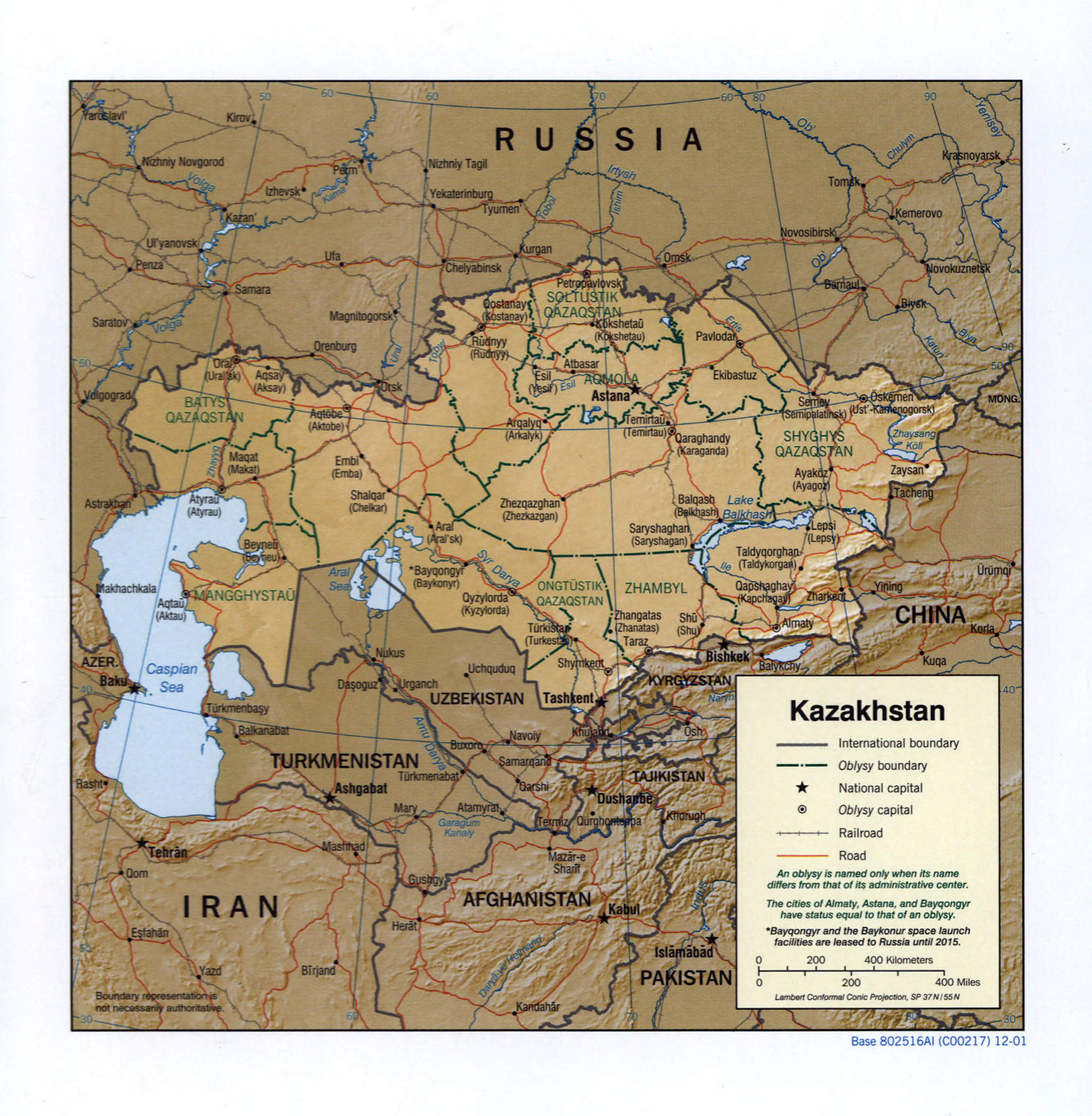 Large detailed political and administrative map of Kazakhstan with