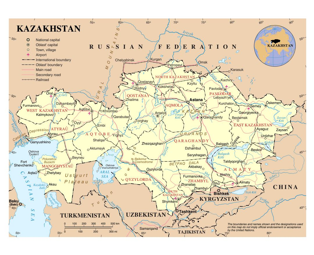 Large detailed political and administrative map of Kazakhstan with roads, major cities and airports