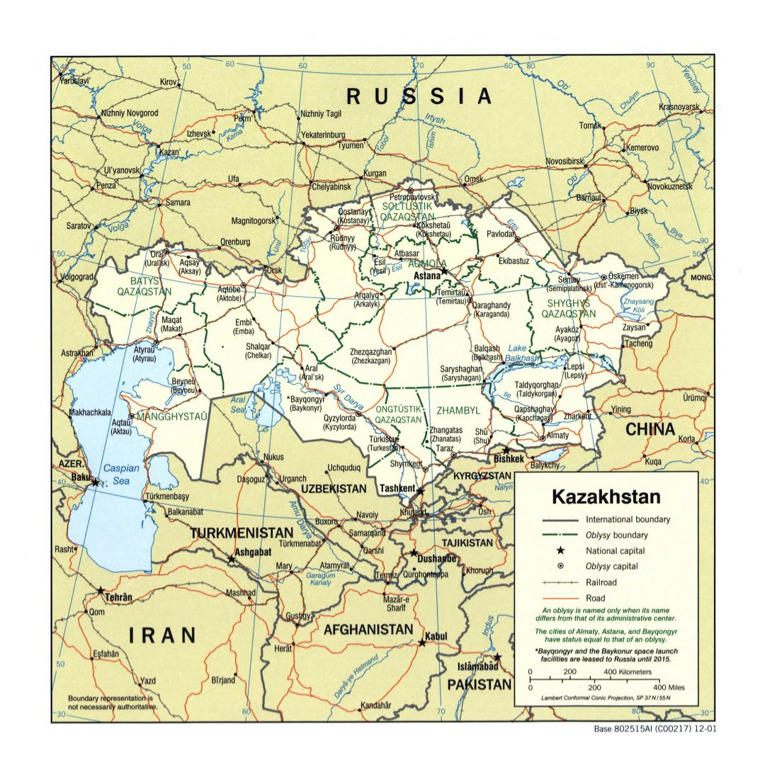 Large detailed political and administrative map of Kazakhstan with roads, railroads and major cities - 2001