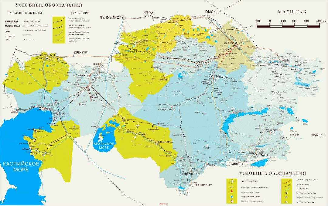 Large detailed road map of Kazakhstan in russian