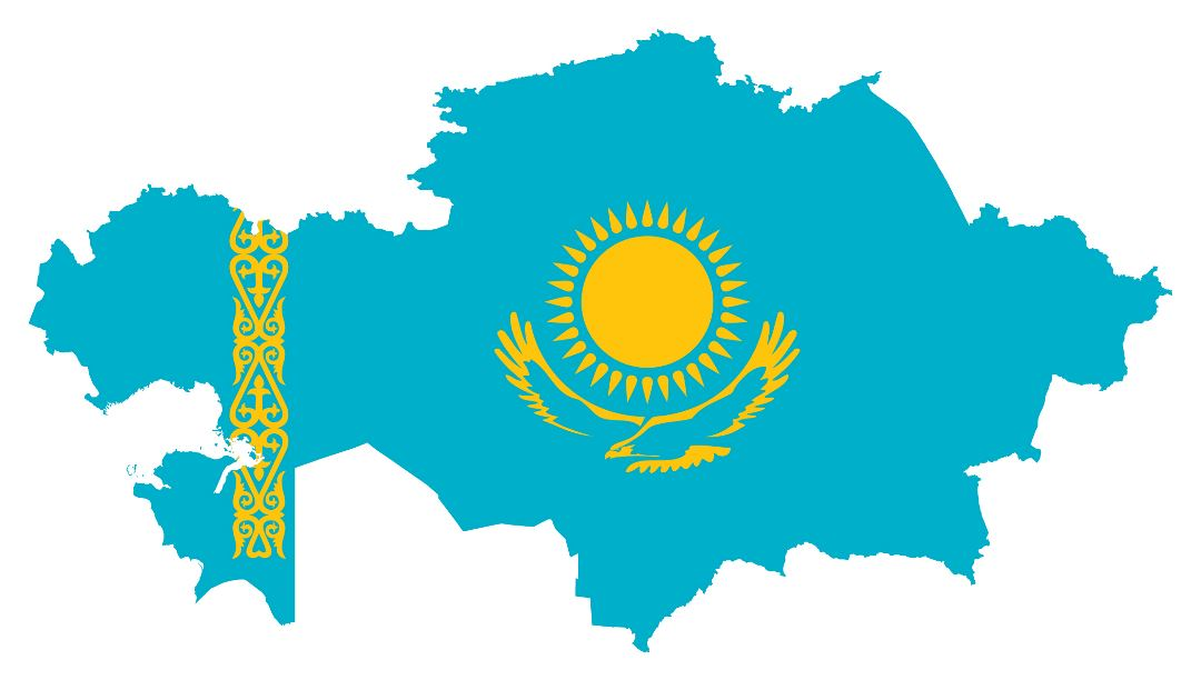 Large flag map of Kazakhstan