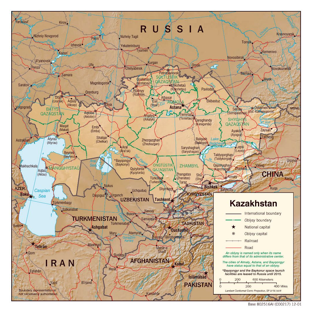 Large political and administrative map of Kazakhstan with relief, roads, railroads and major cities - 2001