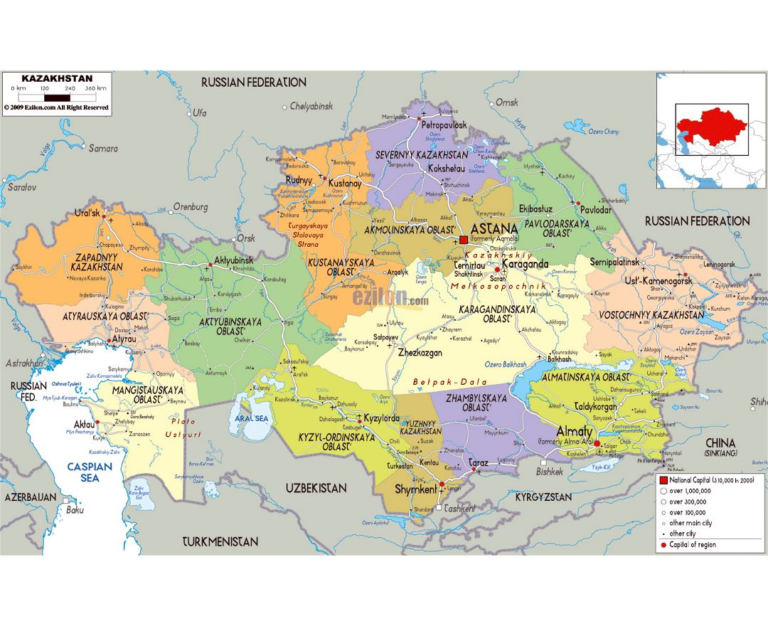 Large political and administrative map of Kazakhstan with roads, cities and airports