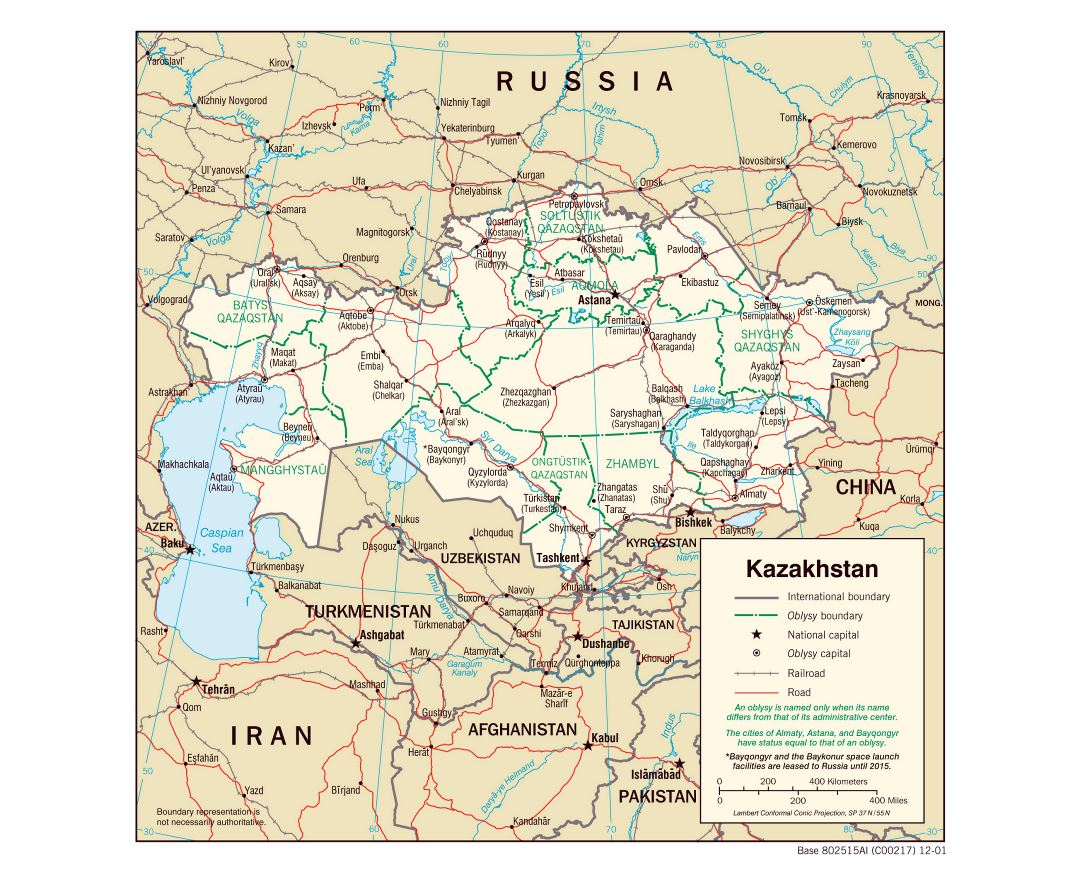 Large political and administrative map of Kazakhstan with roads, railroads and major cities - 2001