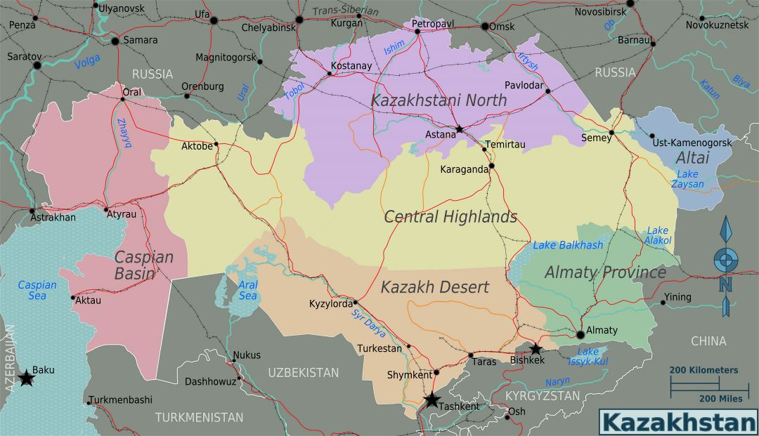 Large regions map of Kazakhstan