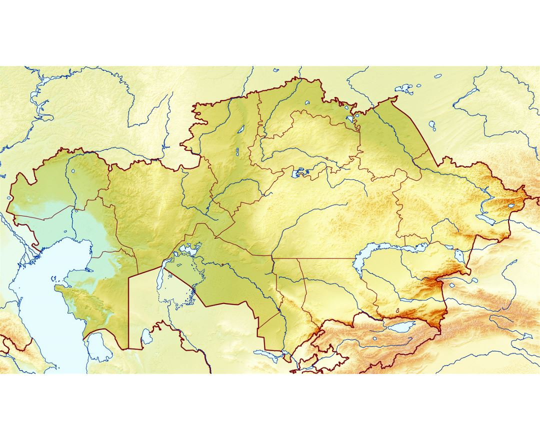 Large relief map of Kazakhstan