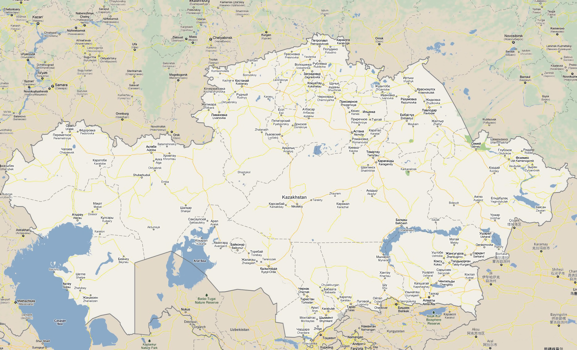 Large road map of kazakhstan with all cities kazakhstan asia large road map of kazakhstan with all cities gumiabroncs Choice Image
