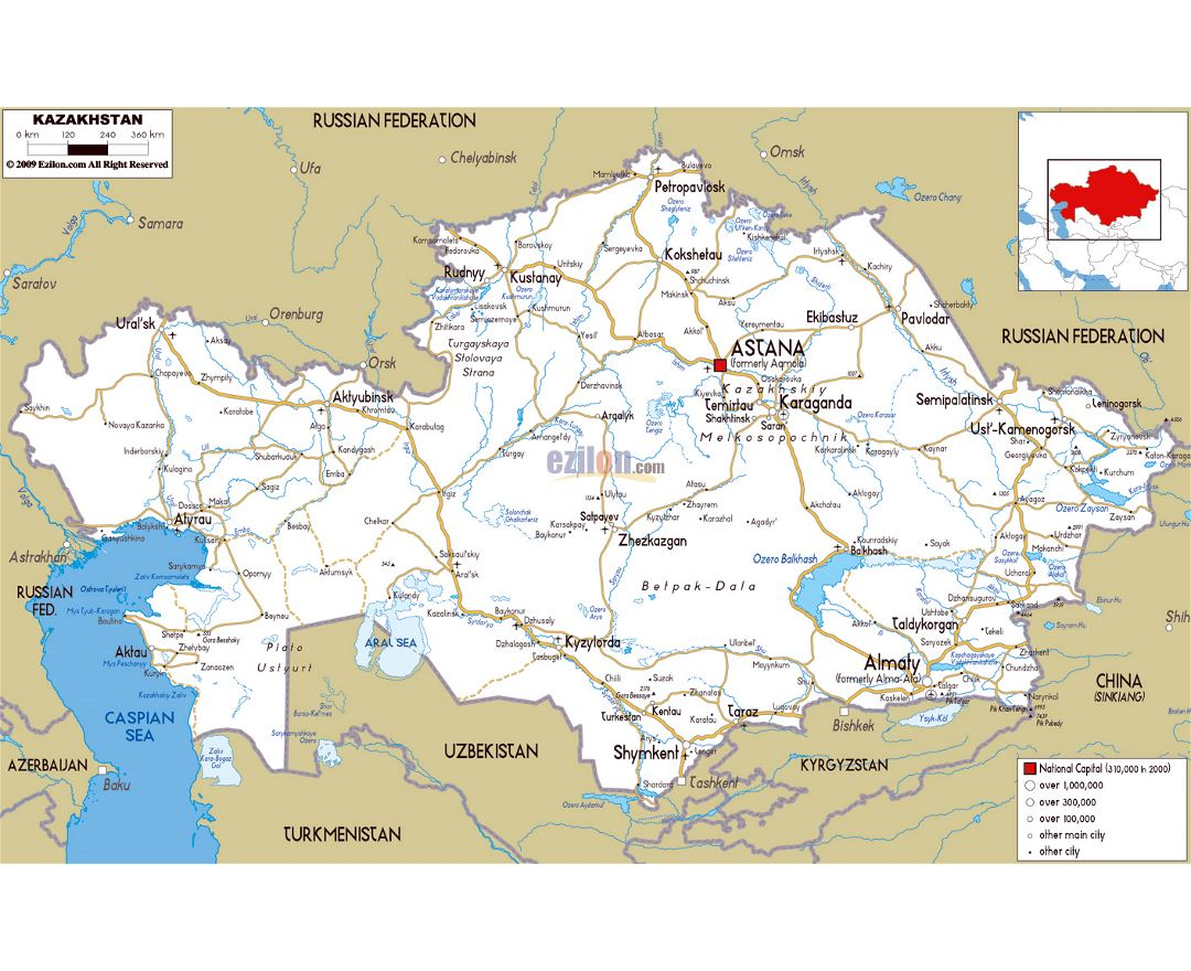 Large road map of Kazakhstan with cities and airports
