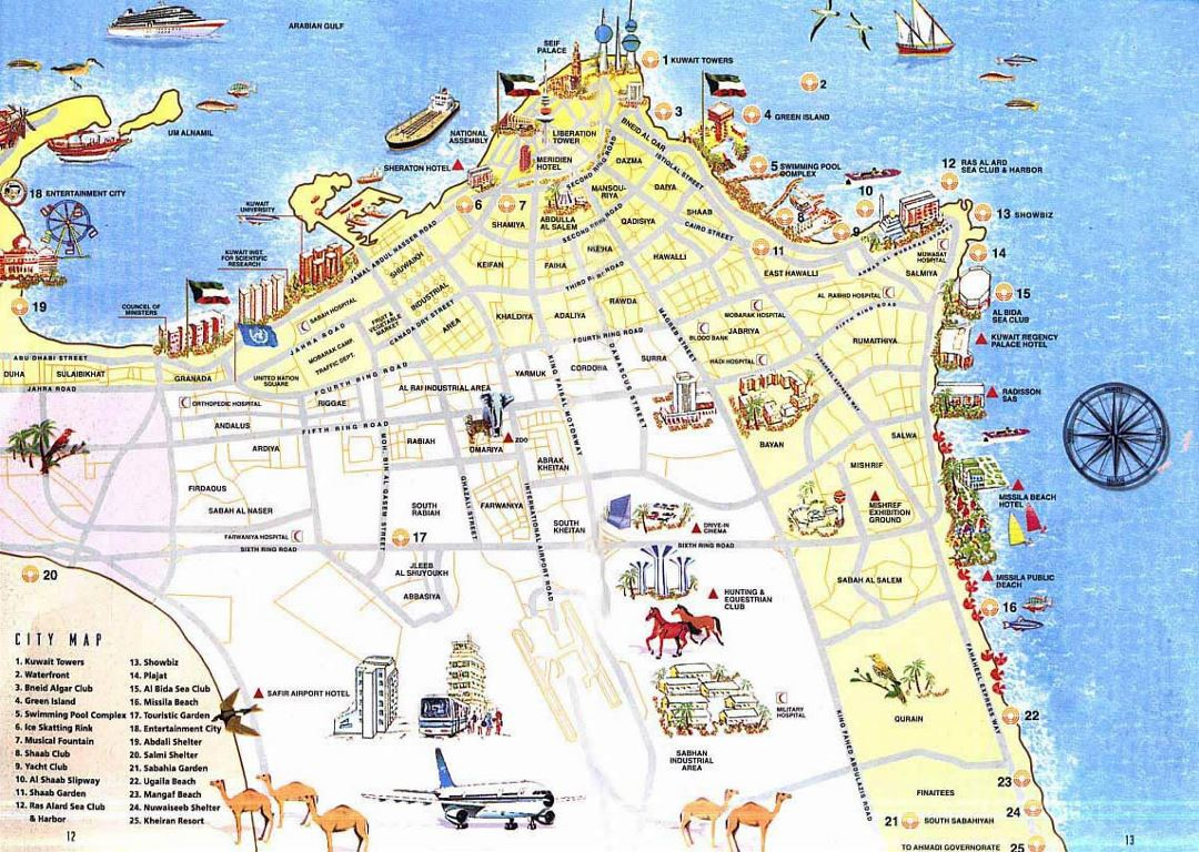 Detailed tourist map of Kuwait city