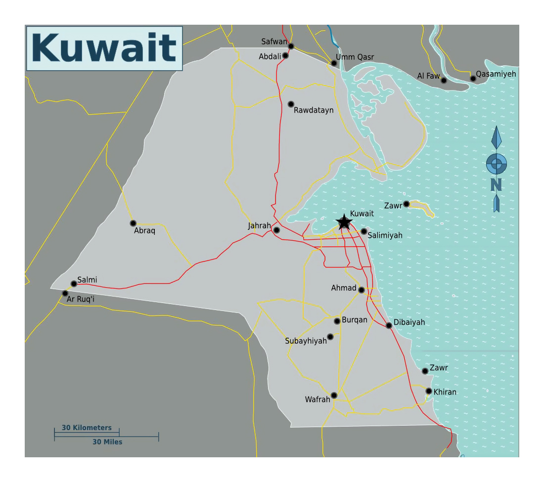 Detailed map of Kuwait with roads Kuwait Asia Mapsland Maps