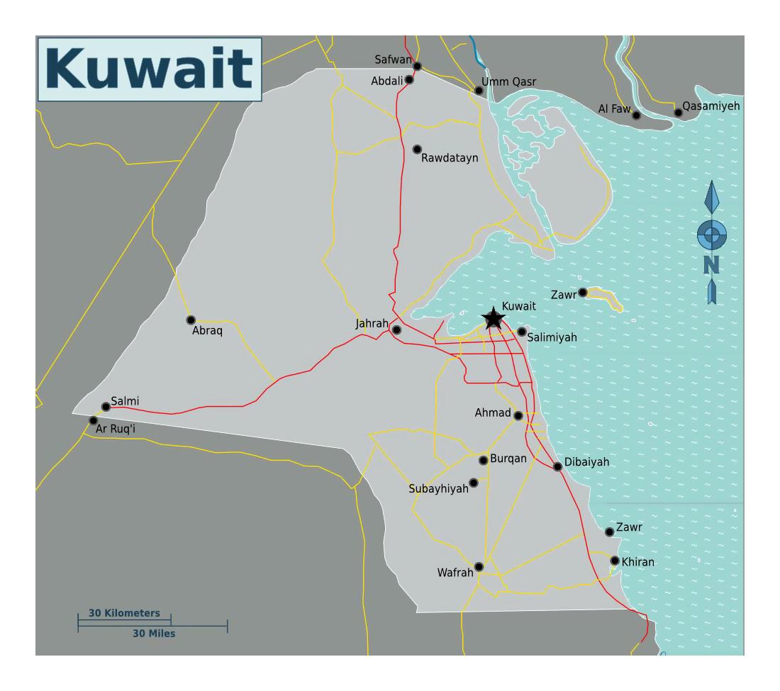 Detailed Map Of Kuwait With Roads Kuwait Asia Mapsland - Kuwait map