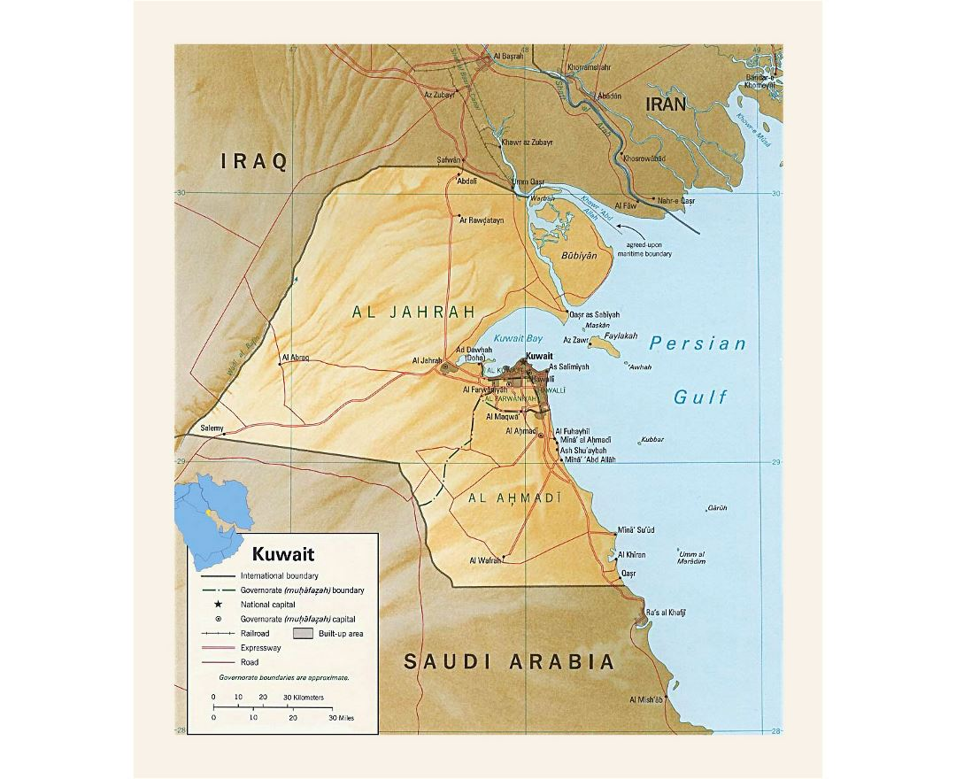 Detailed political and administrative map of Kuwait with relief