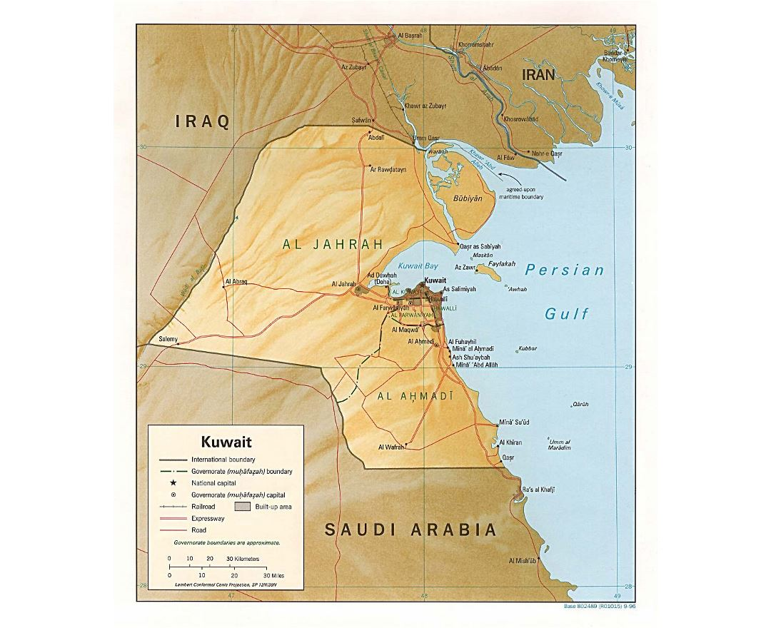 Detailed political and administrative map of Kuwait with relief, roads, railroads and cities - 1996