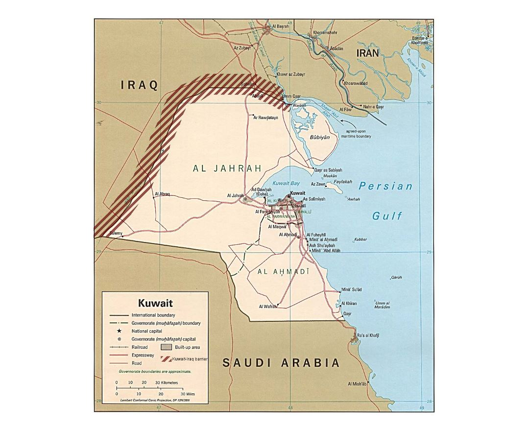 Detailed political map of Kuwait with Kuwait-Iraq barrier
