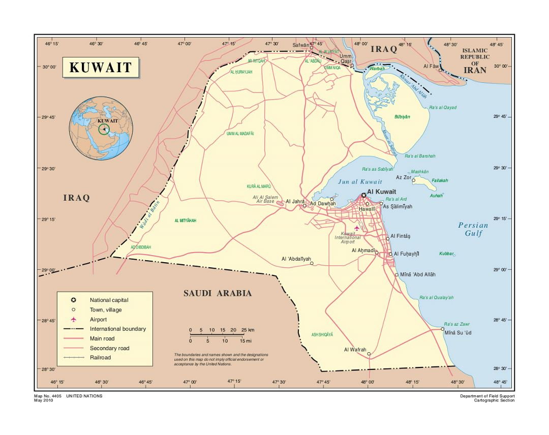 Detailed political map of Kuwait with roads, airports and cities