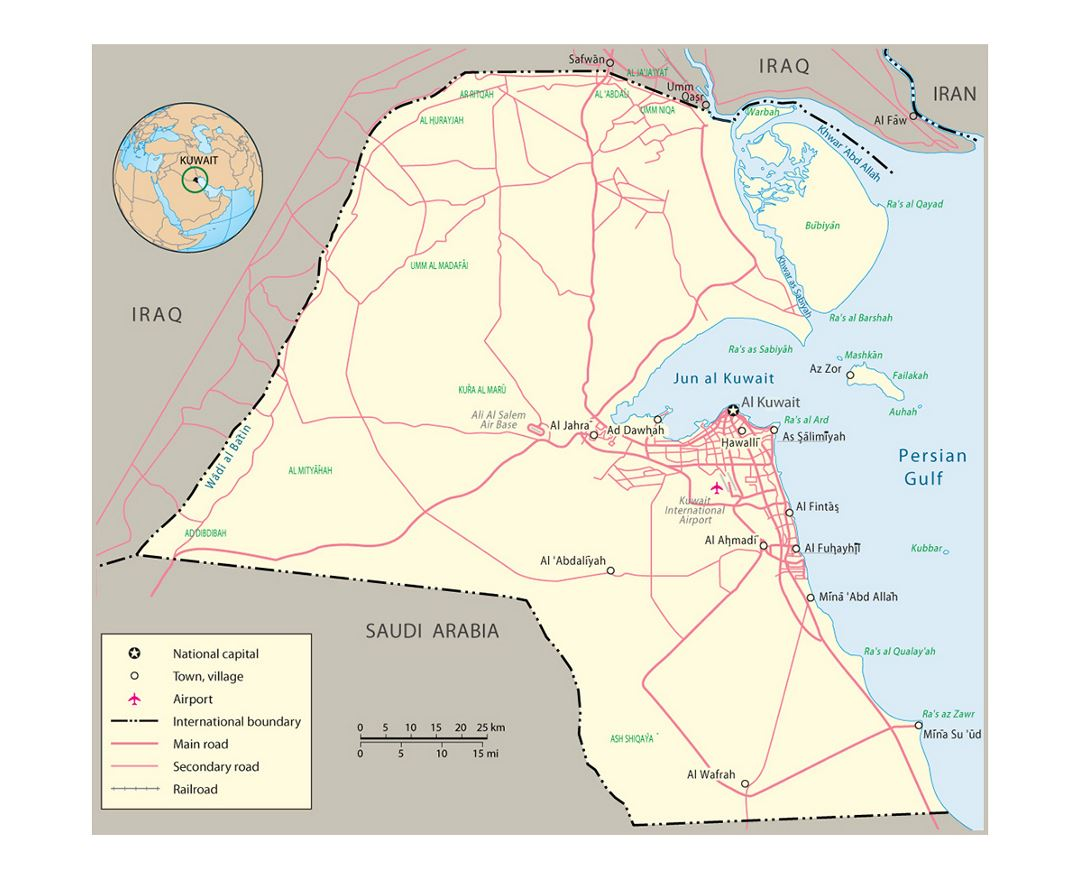 Detailed political map of Kuwait with roads and cities