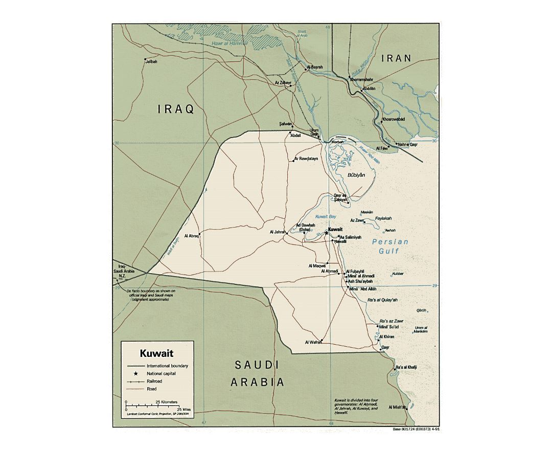Detailed political map of Kuwait with roads, railroads and cities - 1991