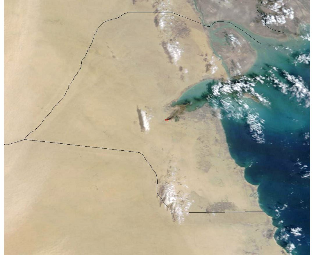 Detailed satellite map of Kuwait