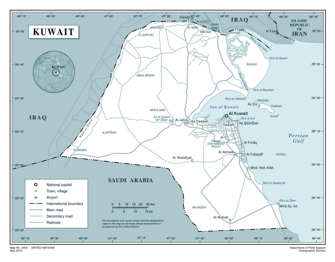 Large detailed political map of Kuwait with roads, airports and cities