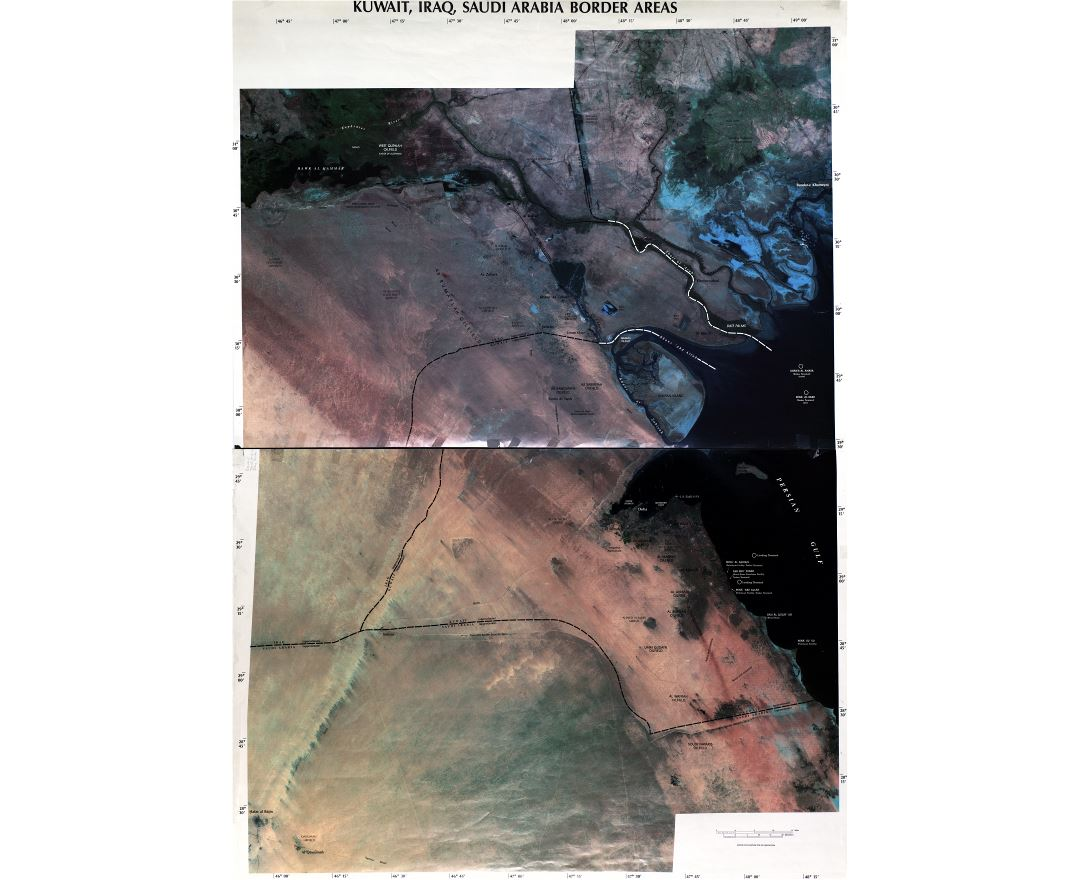 Large detailed satellite map of Kuwait, Iraq and Saudi Arabia border areas - 2003