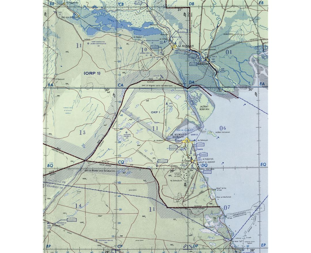 Large detailed topographical map of Kuwait
