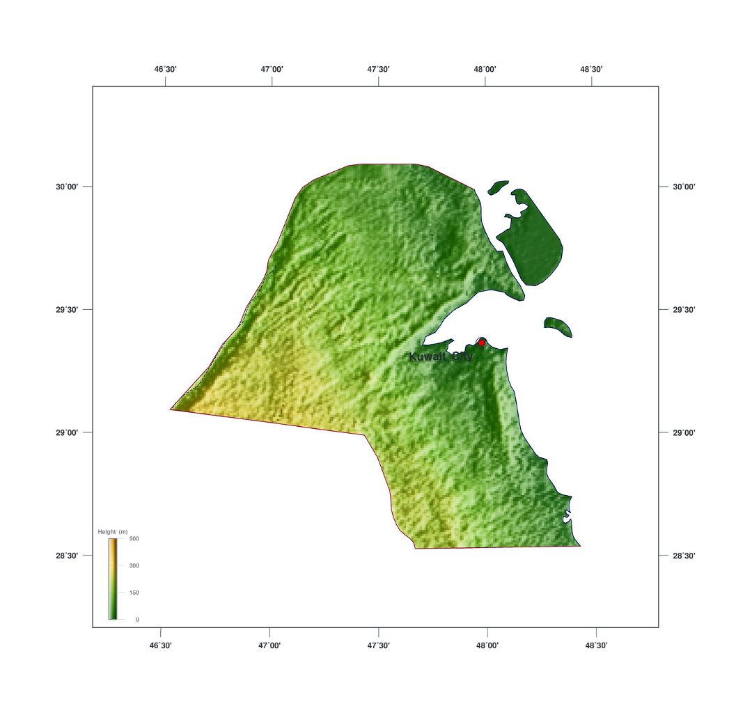 Large elevation map of Kuwait