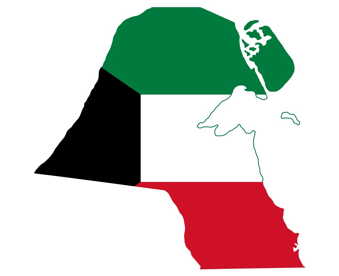 Large flag map of Kuwait