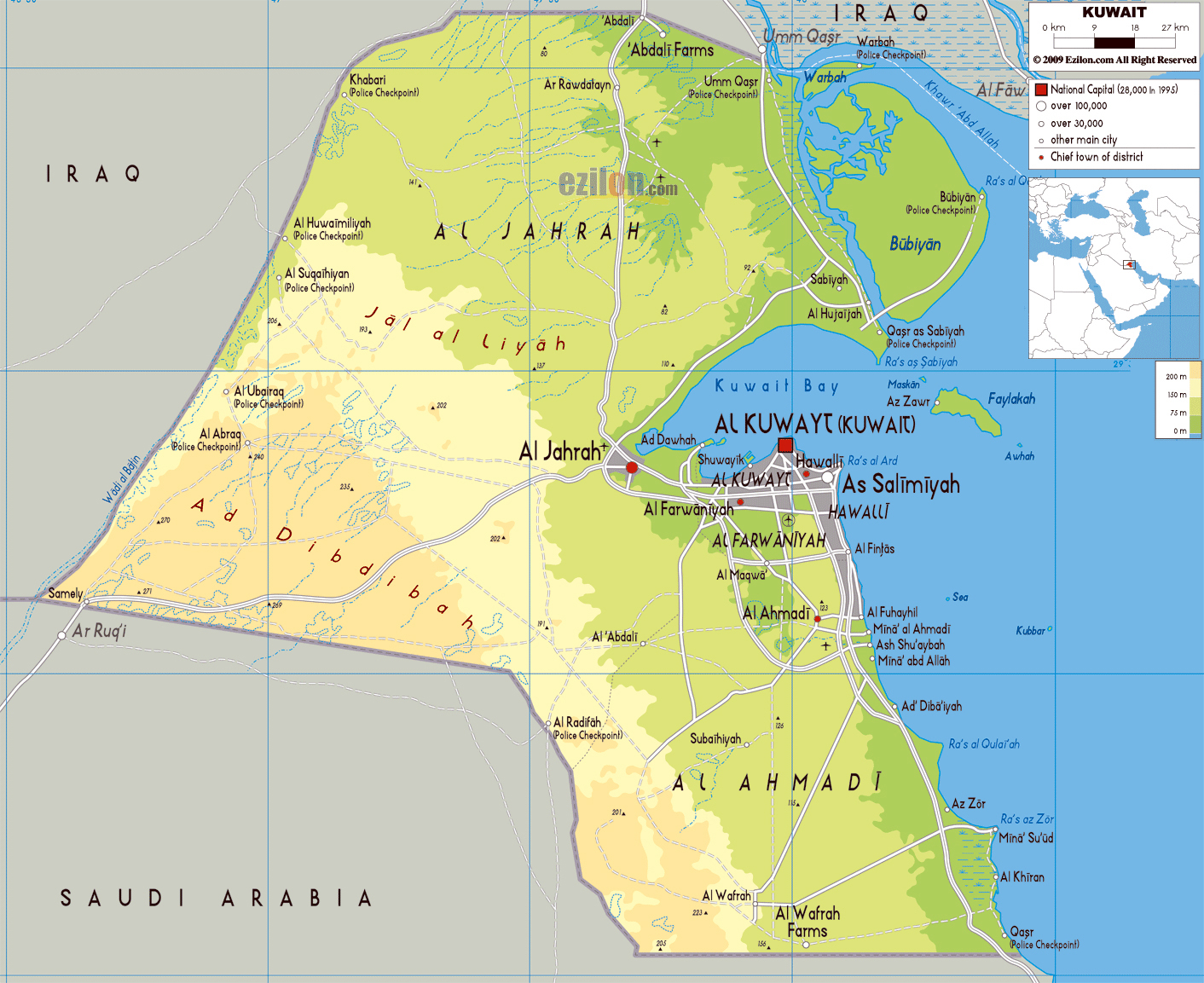 Large physical map of Kuwait with roads, cities and airports ...