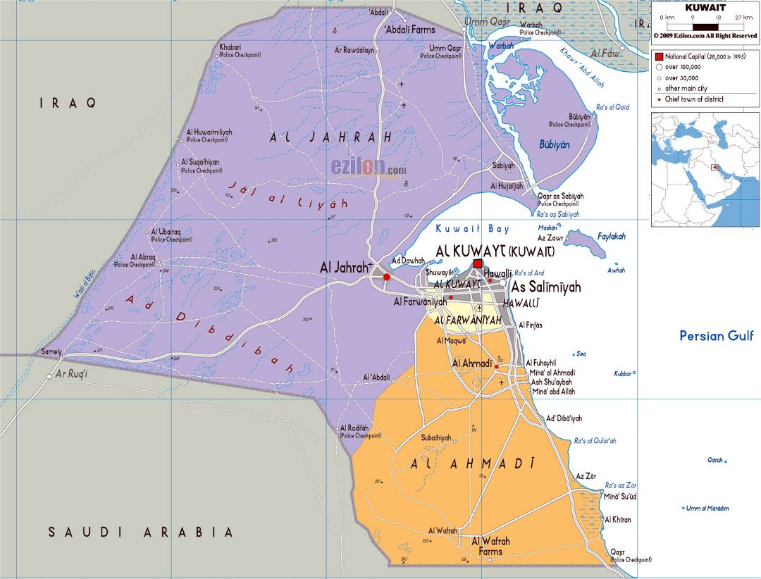 Large political and administrative map of Kuwait with roads, cities and airports