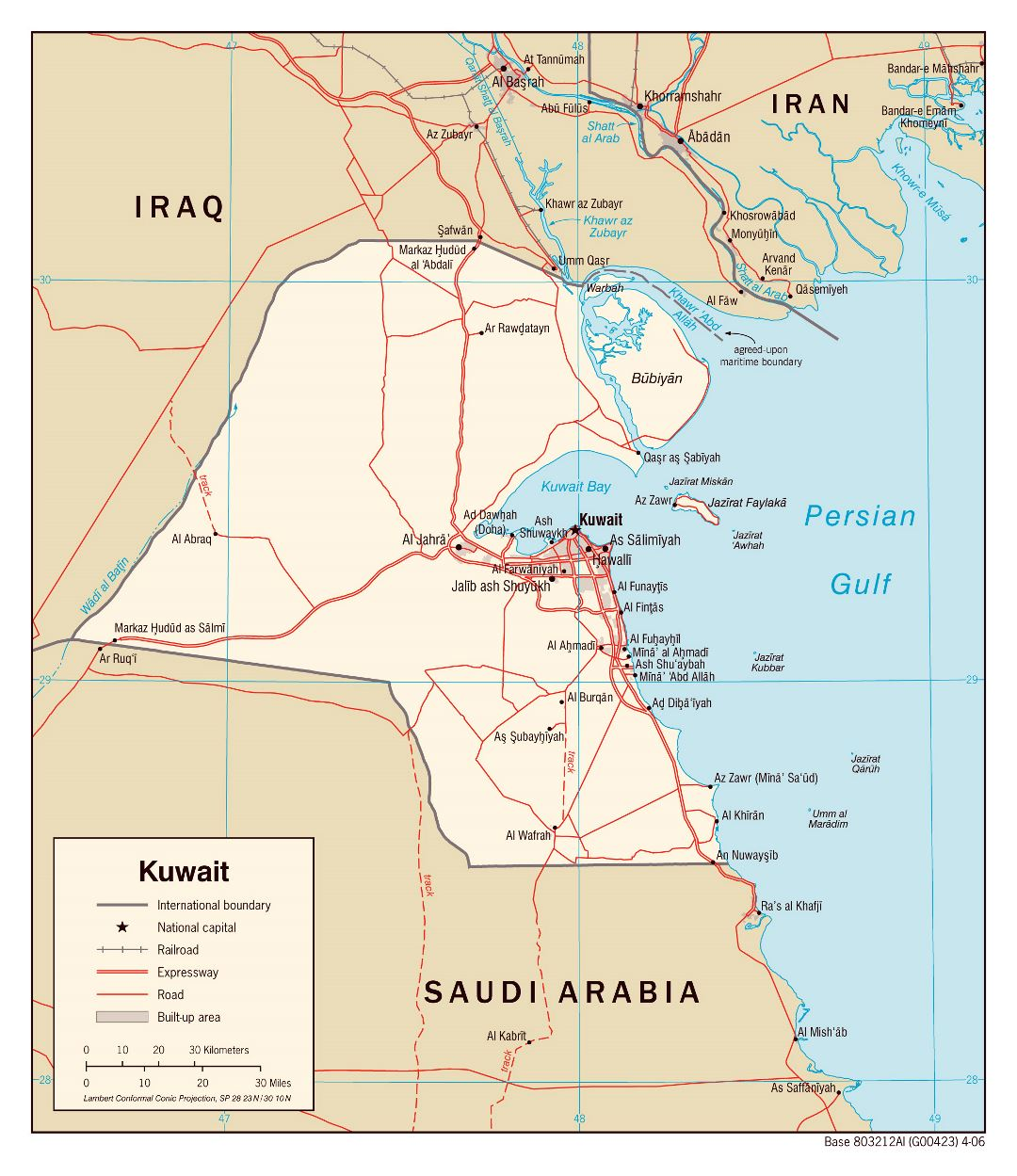 Large political map of Kuwait with roads, railroads and cities - 2006