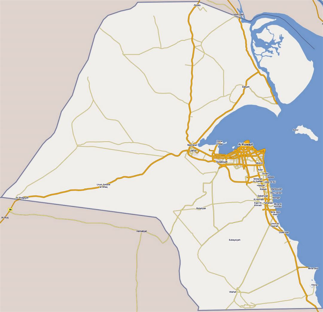 Large road map of Kuwait